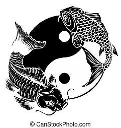 vecteur, yang, symbole, ying, fishes., koi, illustration