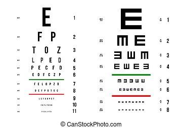 vecteur, yeux, concept, art, examen, affiche, signe., graphique, diagrammes, illustration, isolé, arrière-plan., visuel, latin, conception, ophtalmique, essai, lettres, élément, créatif, monde médical