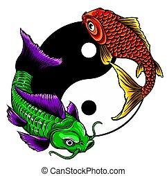 vecteur, ying, symbole, koi, illustration, yang, fishes.