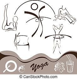 vecteur, yoga, logos, icône, ensemble
