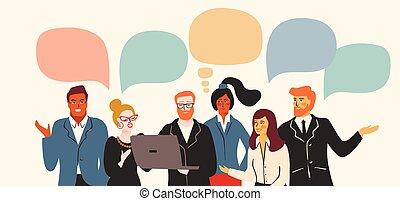 vectior, employés bureau, hommes affaires, managers., gens...
