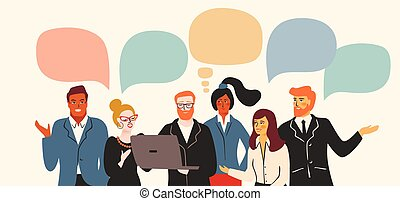 Vectior illustration of office people. Office workers, businessmen, managers. Design elements