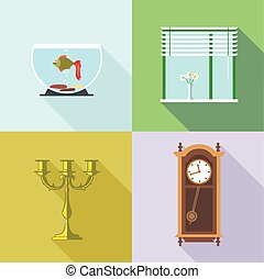 vecto, 家, set., 装飾, デジタル