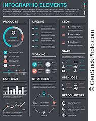 vecto, 最小である, ビジネス, infographics