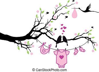 vecto, albero, ragazza, uccelli, bambino
