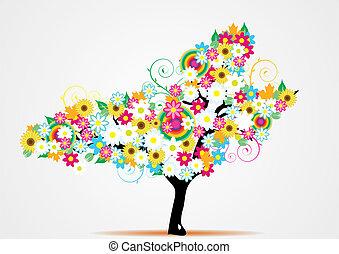 vecto, astratto, fiore, albero, colorito