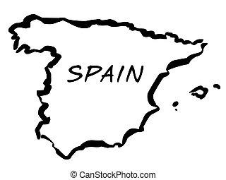 Vecto balck drawing map of Spain
