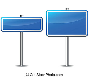 Vecto blue rectangular road signs - Vector illustration of...