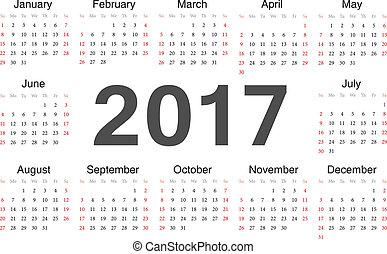 vecto, calendario, 2017, rcircle