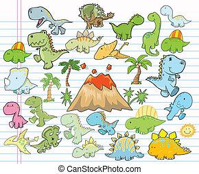 vecto, carino, elementi, disegno, dinosauro
