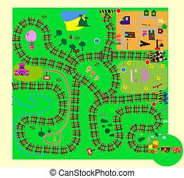 vecto, crianças, train., divertimento, labirinto