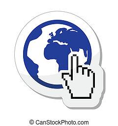 vecto, cursor, mão, globo terra