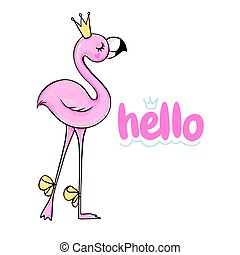 Vecto Cute pink flamingo. Funny illustration with inscription