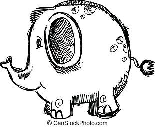 vecto, doodle, schets, dier, elefant