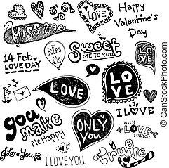 vecto, doodle, vector, liefde, valentijn