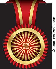 vecto, doré, ruban, rouges, étiquette