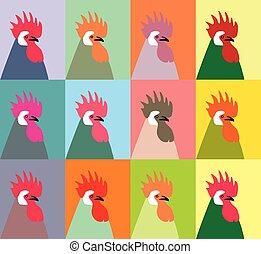 vecto, douze, coqs, multi-coloré