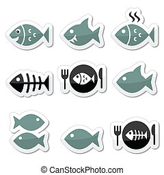 vecto, fish, fish, squelette, plaque