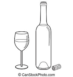 vecto, garrafa copo, esboço, vinho