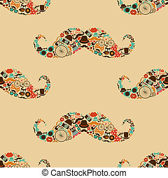Hipster Mustache Colorful Seamless Pattern - Vecto Hipster...