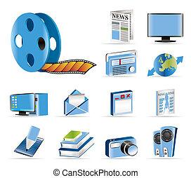 vecto, informação, mídia, -, ícones