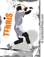 vecto, jugador, tenis, poster., coloreado