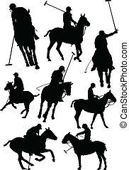 vecto, jugadores, blanco, negro, polo