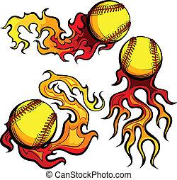 vecto, lidelsefull, flammor, softballs