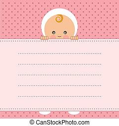 vecto, menina, bebê, card., anúncio