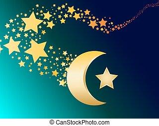 vecto, musulmán, estrella, creciente, oro