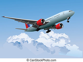 vecto, passageiro, avião, flight.