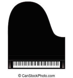 vecto, piano, achtergrond, keys.