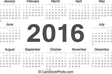 Vector circle calendar 2016. Week starts from Sunday.