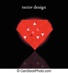 Vector illustration of a red shining ruby