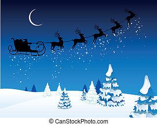 Vecto Santa Claus Driving in a Sledge