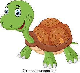 vecto, schattig, schildpad, spotprent, vrijstaand