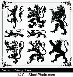 vecto, siluetas, leones, heráldico