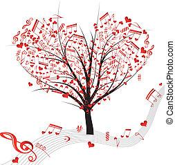 vecto, simbolo, albero, nota, musica, cuori