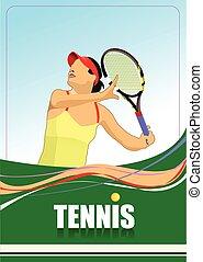 vecto, speler, tennis, poster., gekleurde