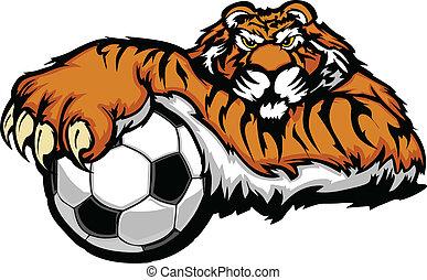 vecto, tigre, boule football, mascotte
