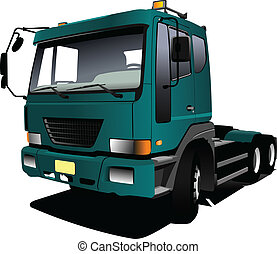 vecto, truck., 緑, trailer., lorry.
