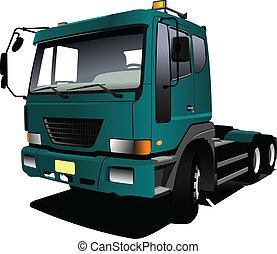 vecto, truck., groene, trailer., lorry.
