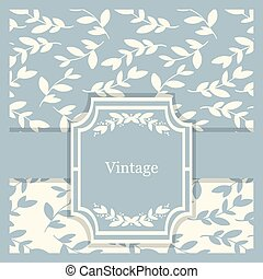 Vecto vintage invitation card with floral ornaments