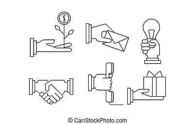 Vectoe set of simple business icons in linear style. Illustrations with human hands and different objects