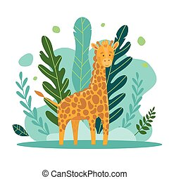 Vecton illustration of a cute giraffe on a background of castings and jungle forest. Cute cartoon animal in flat style. For printing on clothes, toys, illustrations for books. Jungle Animals Series