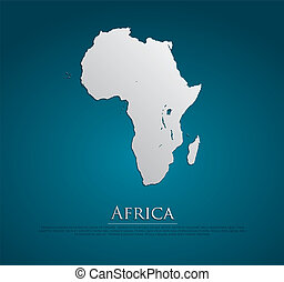 vector, áfrica, mapa, tarjeta, papel