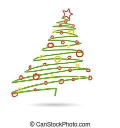 vector, árbol, aislado, mano, plano de fondo, dibujado, navidad blanca