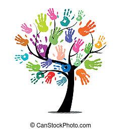 vector, árbol, con, colorido, impresiones de la mano