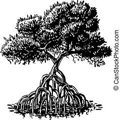 vector, árbol, estilo, tinta, mangle