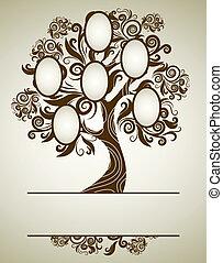 vector, árbol genealógico, diseño, con, marcos
